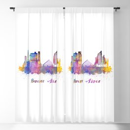 Buenos Aires skyline in watercolor Blackout Curtain