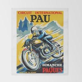 Grand Prix de Pau, Race poster, vintage motorcycle poster, retro poster, Throw Blanket