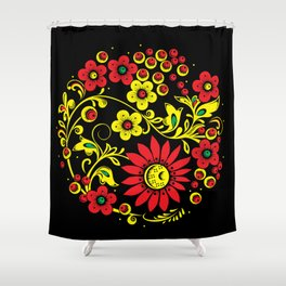 Black floral hohloma Shower Curtain