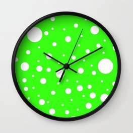 Mixed Polka Dots - White on Neon Green Wall Clock