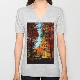 Fall Forest Road Unisex V-Neck
