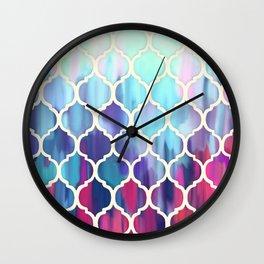 Moroccan Meltdown - pink, purple & aqua painted tiles Wall Clock
