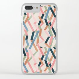 Straight Geometry Ribbons 1 Clear iPhone Case