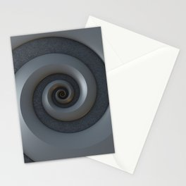 Gray 3-D Spiral Stationery Cards