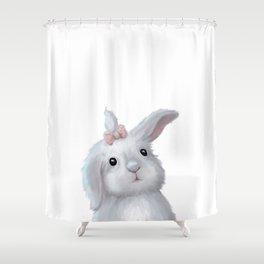 White Rabbit Girl isolated Shower Curtain