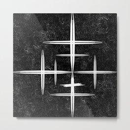 Black and White Hop Scotch Cris Cross Metal Print