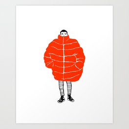 Bundle Up (red) Art Print