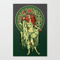 zombie Canvas Prints featuring Zombie Nouveau by Megan Lara