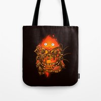 calcifer Tote Bags featuring Pocket Calcifer by Natalie
