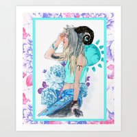 aries Art Prints featuring Aries by Sara Eshak
