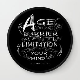 Age is no barrier Life Inspirational Typography Quote Design Wall Clock