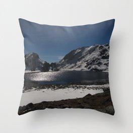 Buddhist Mountain Lakes of Langtang Throw Pillow