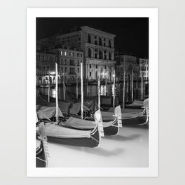 Gondolas in the night Venice Italy black and white Art Print
