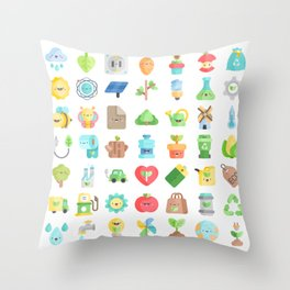 CUTE GREEN / ECO / RECYCLE PATTERN Throw Pillow