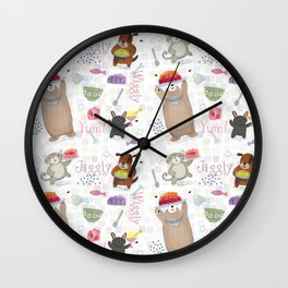 Bunny Dog Bear Cat Jello Treats Wall Clock