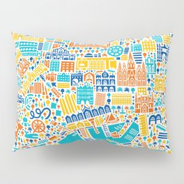 Vianina Barcelona City Map Poster Pillow Sham