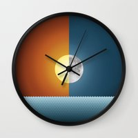 sun and moon Wall Clocks featuring Sun & Moon by Angelina Fenty