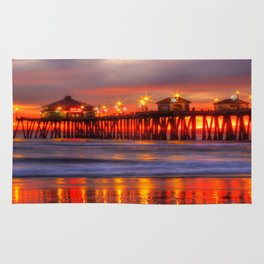A Winter Sunset Huntington Beach Pier Rug
