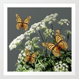 """CREAM COLORED BUTTERFLIES """"SPRING SONG"""" LACE FLOWERS Art Print"""