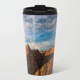 Sunset on the Rocky Landscape of Badlands National Park Travel Mug
