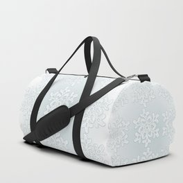 Crocheted Snowflake Ornaments on teal mist Duffle Bag