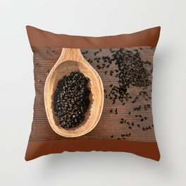 Black Nigella Sativa dry seeds portion Throw Pillow