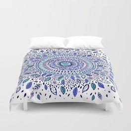 Indigo Flowered Mandala Duvet Cover