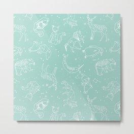 Origami Constellations - geometric animals constellations design - mint Metal Print