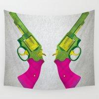 guns Wall Tapestries featuring Play Guns by kakin