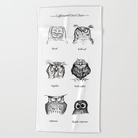 Caffeinated Owls Beach Towel