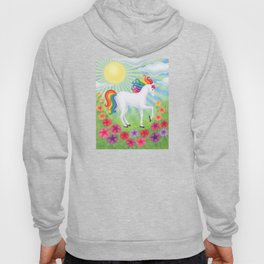 daydreamer (rainbow unicorn), sunshine, petunias Hoody