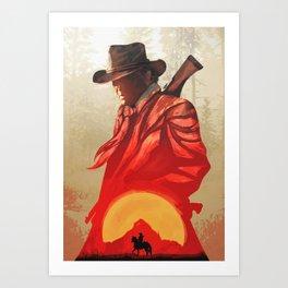 Red Sun Set /Red Dead - Poster Art Print