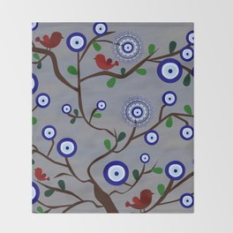 Lucky Evil Eye Bird Tree Throw Blanket