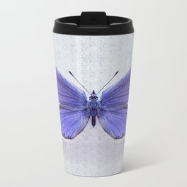 Violet Butterfly on Floral Background. Metal Travel Mug