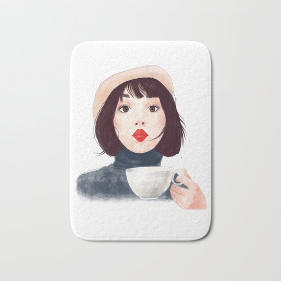 French woman with coffee Bath Mat
