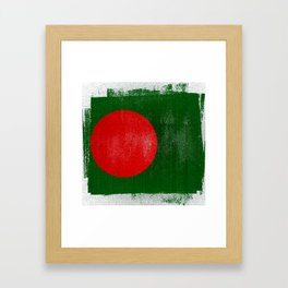 Bangladesh Distressed Halftone Denim Flag Framed Art Print