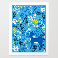 Deer and Butterflies (Sky Blue) Art Print