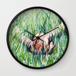 holding hands in the rain Wall Clock