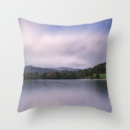 Clouds sweeping over Rydal Water at dusk. Lake District, UK Throw Pillow