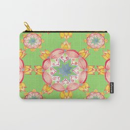 Yellow Lotus Green background Carry-All Pouch