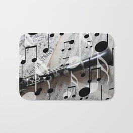 music notes white black clarinet Bath Mat