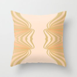 Cream and Olive Green Pattern Throw Pillow