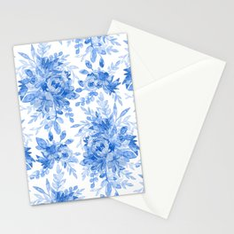 Juicy Watercolor Chintz in Cornflower Blue on White  Stationery Cards