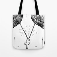religion Tote Bags featuring Fashionable religion by IvaDim