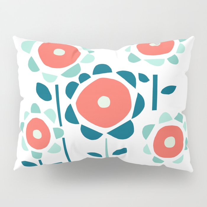 Coral and Aqua Garden of Flowers Pillow Sham