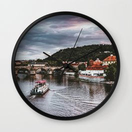 SCENERY 40 - Sunset City Bridge Lake Evening Wall Clock