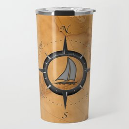 Sailboat And Compass Rose Travel Mug