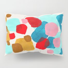 Fun Colorful Bright Abstract Shapes Mid Century Modern Patterns Blue Teal Red Pink Yellow Ochre Pillow Sham