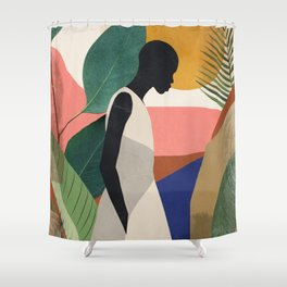 Tropical Girl Shower Curtain