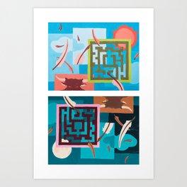 Labyrinth (Night & Day) Art Print